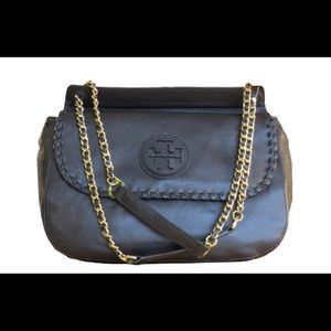 Tory Burch black leather saddle bag and dust cover